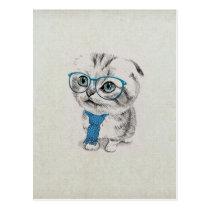Cute adorable funny trendy blue eyes kitten postcard