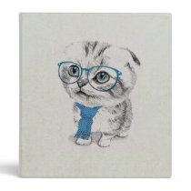Cute adorable funny trendy kitten animal sketch 3 ring binder