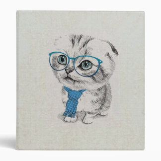 Cute adorable funny trendy kitten animal sketch 3 ring binder