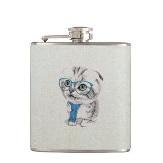 Cute adorable funny trendy kitten animal sketch flask