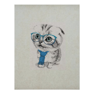 Cute adorable funny trendy kitten animal sketch poster