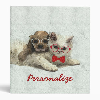 Cute Adorable funny trendy puppy and kitten 3 Ring Binder