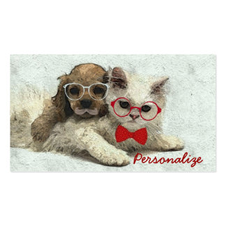 Cute Adorable funny trendy puppy and kitten Double-Sided Standard Business Cards (Pack Of 100)