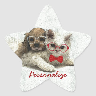 Cute Adorable funny trendy puppy and kitten Star Sticker