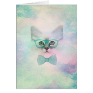 Cute adorable funny watercolours kitten glasses card