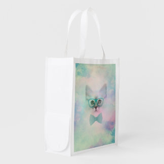 Cute adorable funny watercolours kitten glasses reusable grocery bag