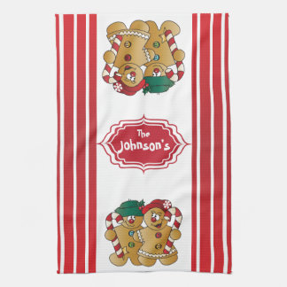 Cute Adorable Gingerbread Couple Towel