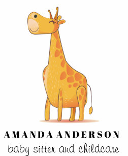Child care business cards zazzle cute adorable giraffe baby sitter child care business card colourmoves