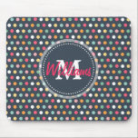 """Cute adorable girly colourful  monogram polka dots mouse pad<br><div class=""""desc"""">Cute adorable girly colourful monogram polka dots pattern, bubble gum pink, soft pink, soft yellow, white, peacock blue, aqua green, orange colours, dark navy blue background colour, shabby chic, fashion, stylish, unique, doll, awesome, cool, love, loveable, feminine, monogram, modern, artistic, spring, summer, whimsical, pretty, sweet image. Personalise your name or...</div>"""
