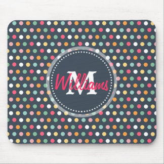 Cute adorable girly colourful  monogram polka dots mouse pad