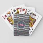"Cute adorable girly colourful  monogram polka dots playing cards<br><div class=""desc"">Cute adorable girly colourful monogram polka dots pattern, bubble gum pink, soft pink, soft yellow, white, peacock blue, aqua green, orange colours, dark navy blue background colour, shabby chic, fashion, stylish, unique, doll, awesome, cool, love, loveable, feminine, monogram, modern, artistic, spring, summer, whimsical, pretty, sweet image. Personalise your name or...</div>"