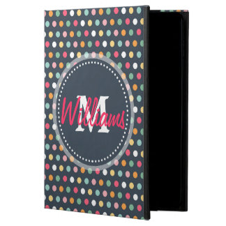 Cute adorable girly colourful  monogram polka dots powis iPad air 2 case