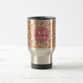Cute adorable girly monogram cherries and flowers travel mug