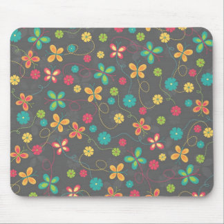 Cute adorable girly trendy colourful butterflies mouse pad