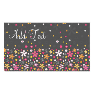 Cute adorable girly trendy hand drawn floral business card
