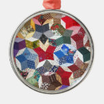 Cute adorable girly vintage patched quilt stars round metal christmas ornament