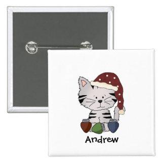 Cute Adorable Grey Kitten Holding Christmas Lights Button