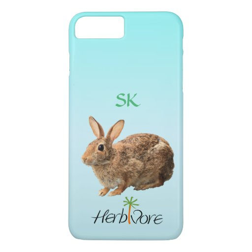 Cute Adorable Herbivore Bunny Custom Vegan iPhone 7 Plus Case : Zazzle