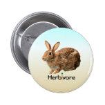 Cute Adorable Herbivore Vegan Wild Bunny Ice Blue Button