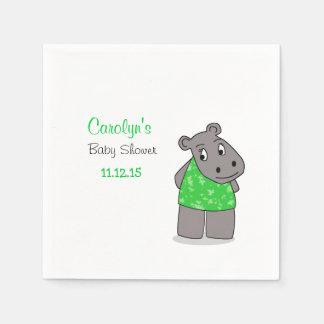Cute Adorable Hippo / Green Dress Napkin