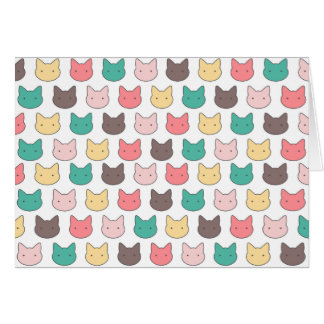 Cute adorable kittens heads illustration pattern cards