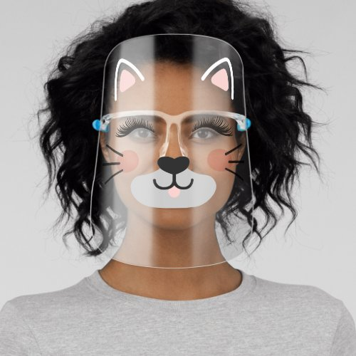 Cute Adorable Kitty Cat Face Ears Lashes Whiskers Face Shield