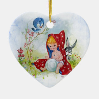 Cute adorable little boy, bunny and bird playing ceramic ornament