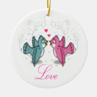 Cute adorable Love birds pink blue swirls flowers Christmas Tree Ornaments