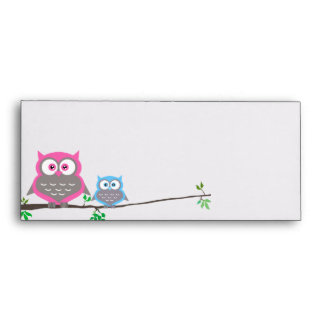 Cute Adorable Owls On A Branch Envelope