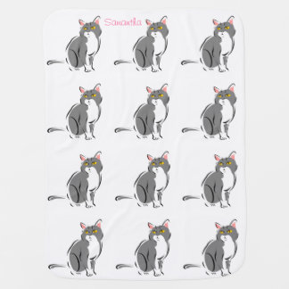 Cute Adorable Pink Gray Kitty Cats Optional Name Stroller Blanket
