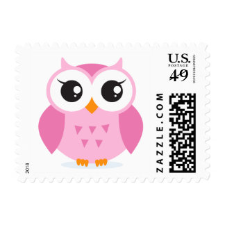 Cute adorable pink owl animal cartoon postage stamp