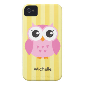 Cute adorable pink owl animal cartoon yellow name Case-Mate iPhone 4 case