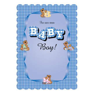 Cute Adorable Plaid with Baby Bears | Baby Shower Card
