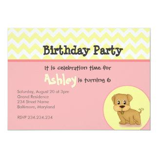 Cute Adorable Puppy Pink Cream Birthday Invitation