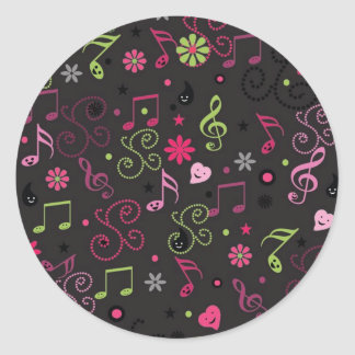 Cute adorable smiley music notes flowers classic round sticker