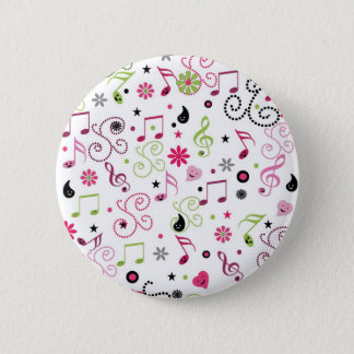 Cute adorable smiley music notes flowers pinback button