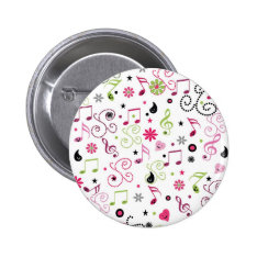 Cute Adorable Smiley Music Notes Flowers Pinback Button at Zazzle