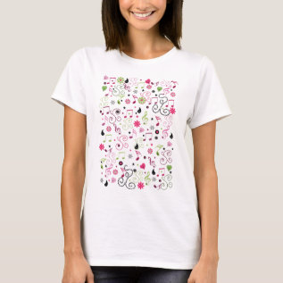 Cute Adorable Smiley Music Notes Flowers T-shirt at Zazzle