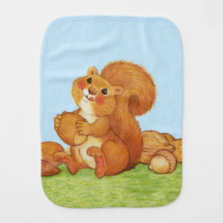 Cute Adorable Squirrel Acorns Nuts Burp Cloth