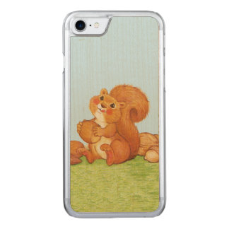 Cute Adorable Squirrel Acorns Nuts Carved iPhone 7 Case