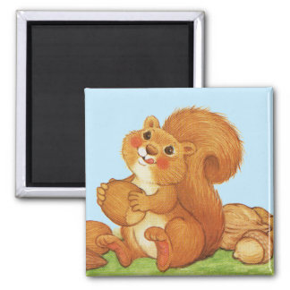Cute Adorable Squirrel Nuts 2 Inch Square Magnet