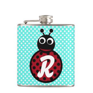 Cute Adorable Sweet Lady Bug Initial Monogram Hip Flask