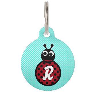 Cute Adorable Sweet Lady Bug Monogram Pet Tag