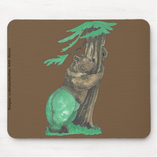Cute Adorable Tree Hugging Bear with Leggings Mouse Pad