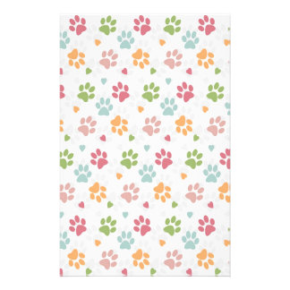 Cute adorable trendy animal paws print and hearts stationery