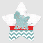 Cute adorable trendy flowers baby elephant star sticker