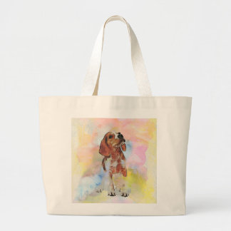 Cute adorable trendy puppy animal dog watercolours jumbo tote bag
