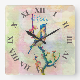 Cute adorable  vintage watercolours  bird floral square wall clock