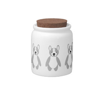 cute adoring Boston terrier Puppies Candy Jars