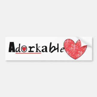 Cute Adorkable heart Car Bumper Sticker